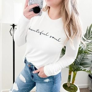 Mimi + Daphne Beautiful Soul Embroidered White Tee